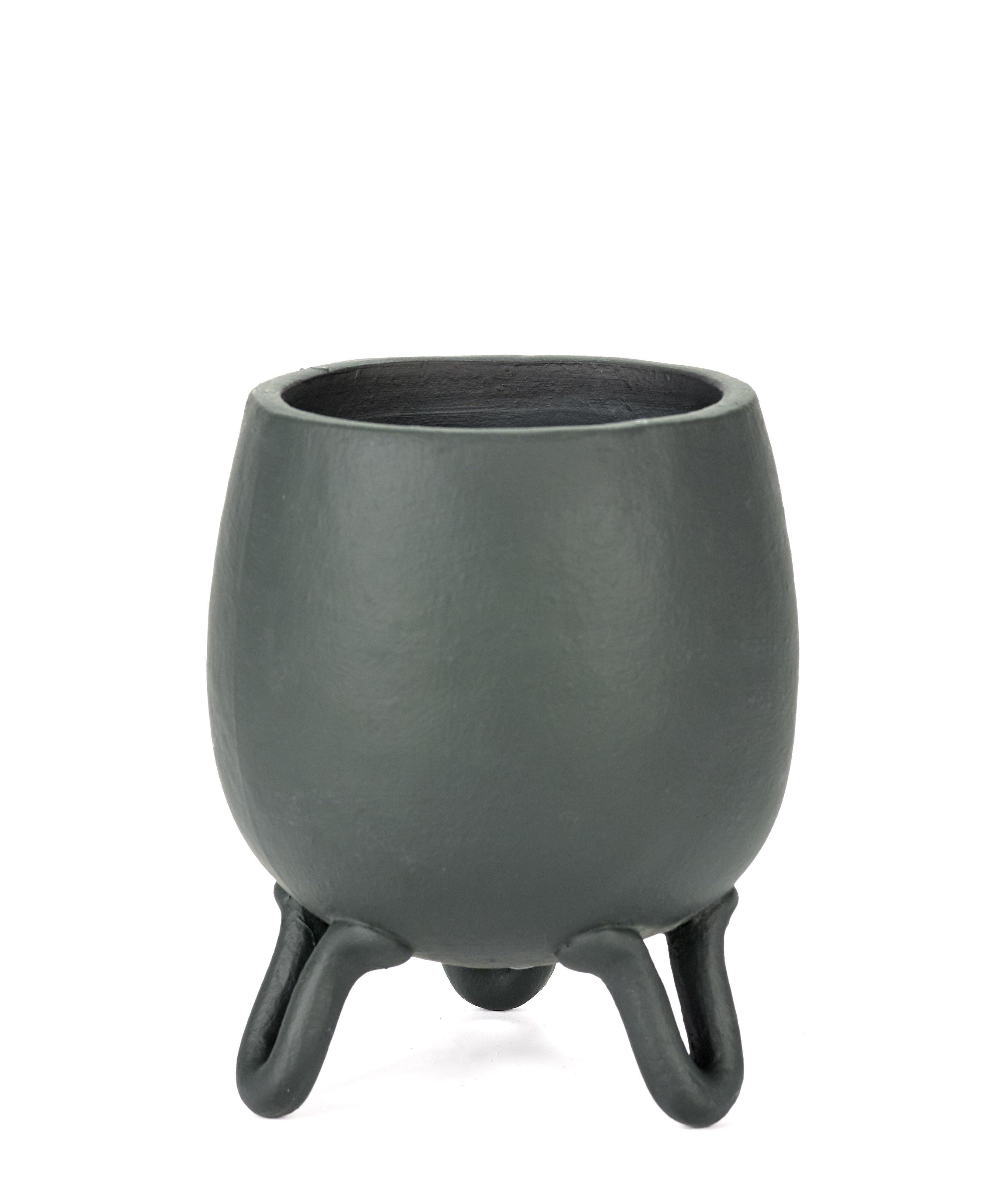 Decoration - Flower Pots & House Plants - Antes Flower-pot holder - / Ø 12.5 x H 18 cm - Terracotta by Serax - Dark green - Terracotta