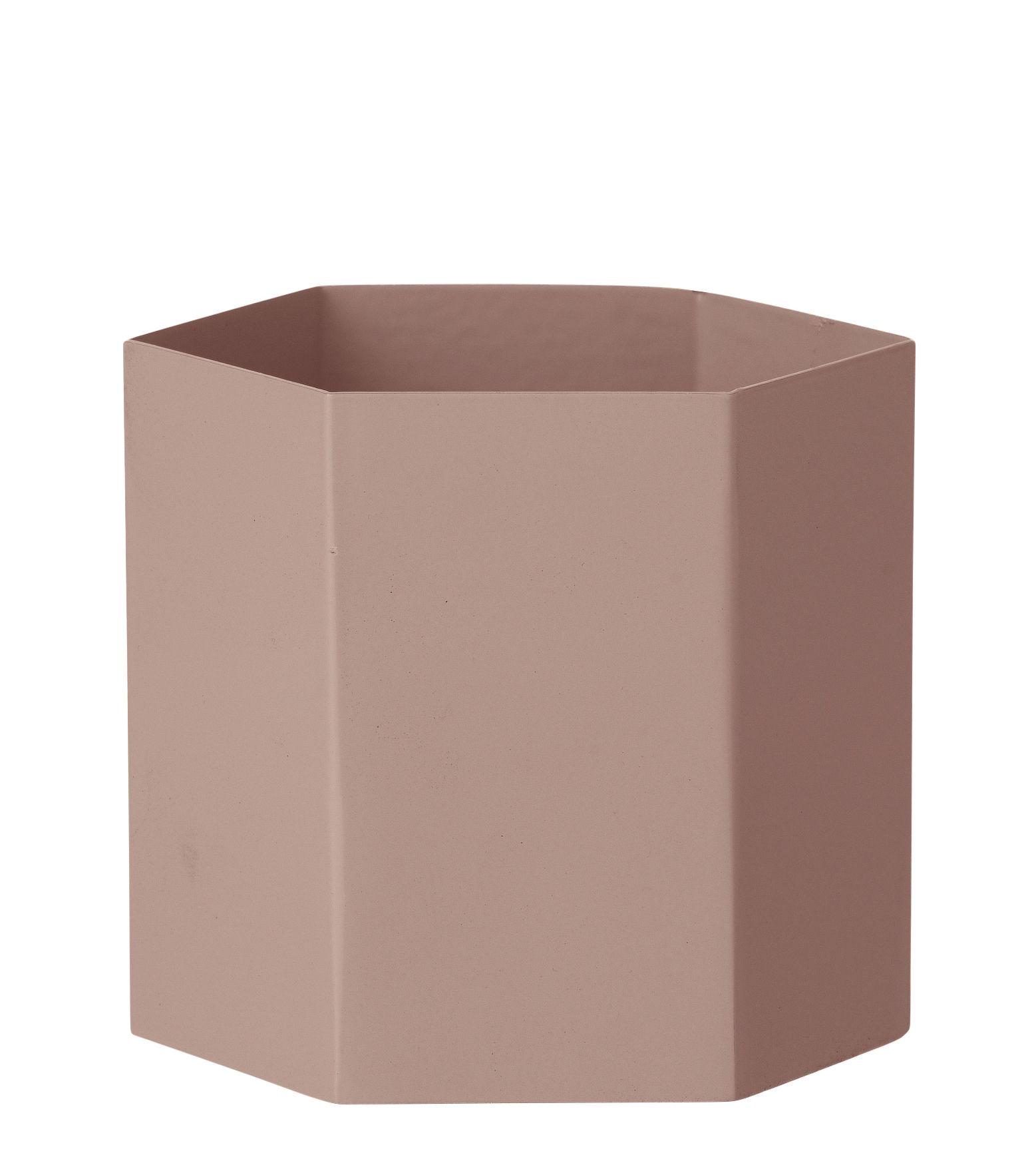 Accessories - Desk & Office Accessories - Hexagon Large Flowerpot - / Ø 13.5 cm x H 12 cm by Ferm Living - Pink - Lacquered metal