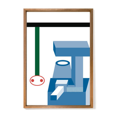 Decoration - Wallpaper & Wall Stickers - Nathalie du Pasquier - Elephant Framed poster - / Limited, numbered edition - 72,2 x 92,2 cm by The Wrong Shop - Elephant / Multicoloured & oak frame - Oak, Plexiglass, Premium paper