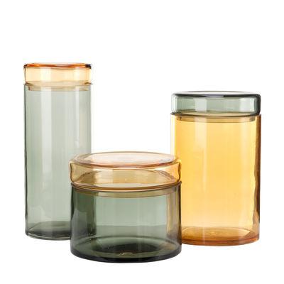 Kitchenware - Kitchen Storage Jars - Jar - / Set of 3 - Hand-blown glass by Pols Potten - Grey & amber - Mouth blown glass