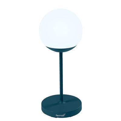 Illuminazione - Lampade da tavolo - Lampada senza fili Mooon! - / H 63 cm - Bluetooth di Fermob - Blu Acapulco - Alluminio, Polietilene