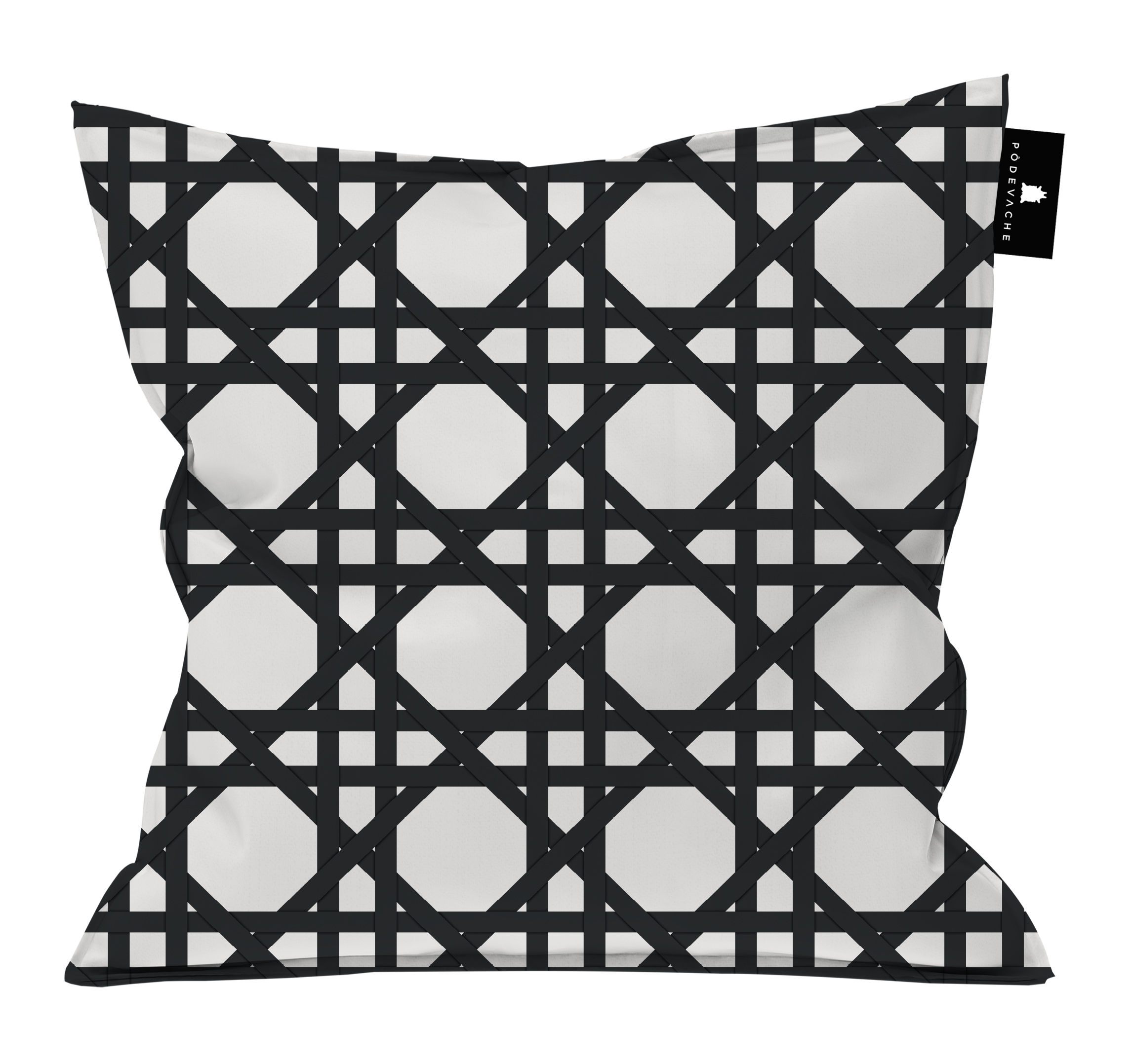 Decoration - Cushions & Poufs - Cannage Outdoor cushion - / 55 x 55 cm by PÔDEVACHE - Black -  Micro-billes EPS, Polyester