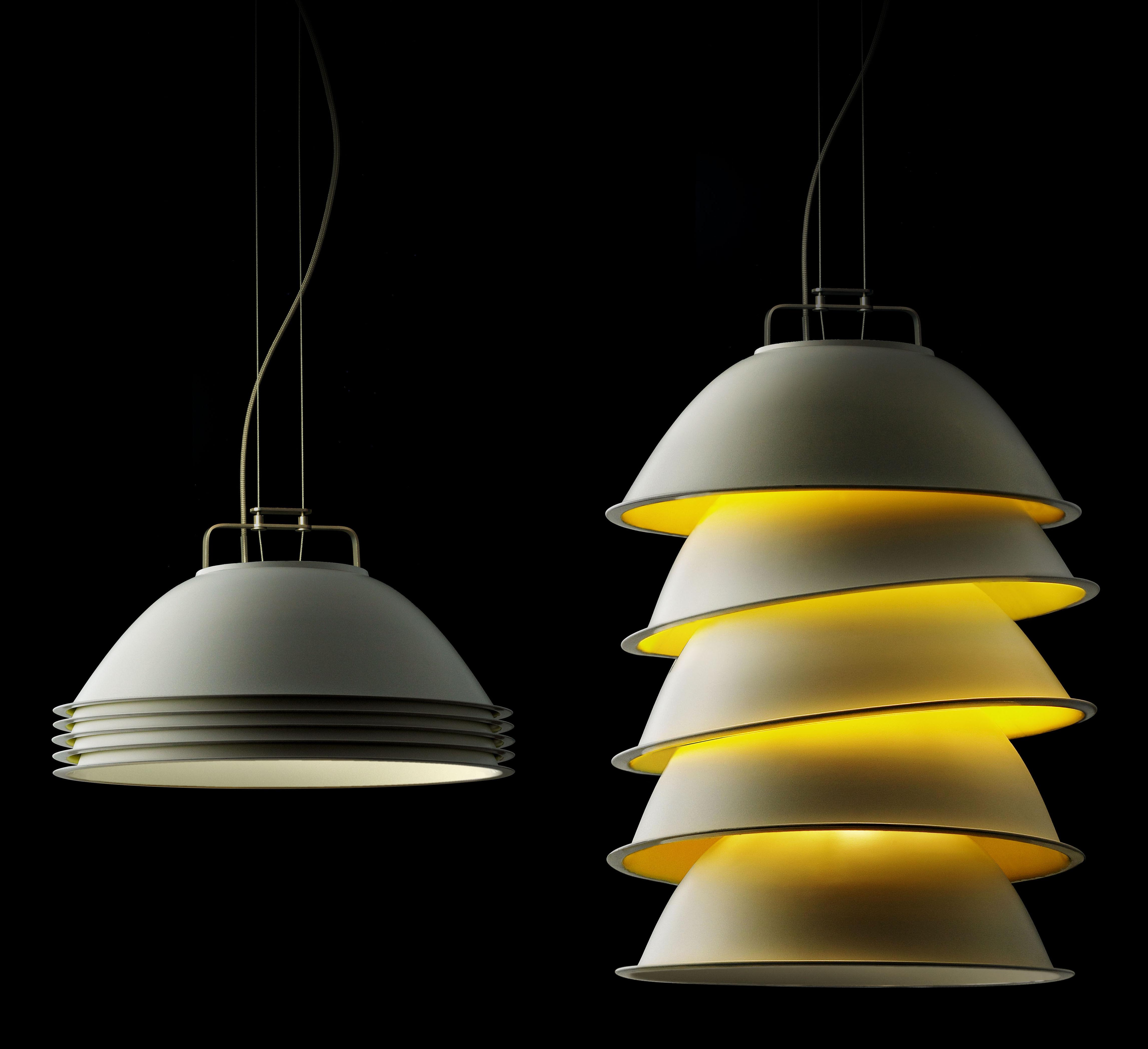Lighting - Pendant Lighting - Five Pack Pendant by Ingo Maurer - White - Yellow - Steel