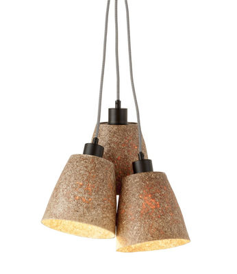Lighting - Pendant Lighting - Sequoia Triple Pendant - / 3 lights - Wood - Ø 17 cm by GOOD&MOJO - Natural - Recycled chipboard, Steel