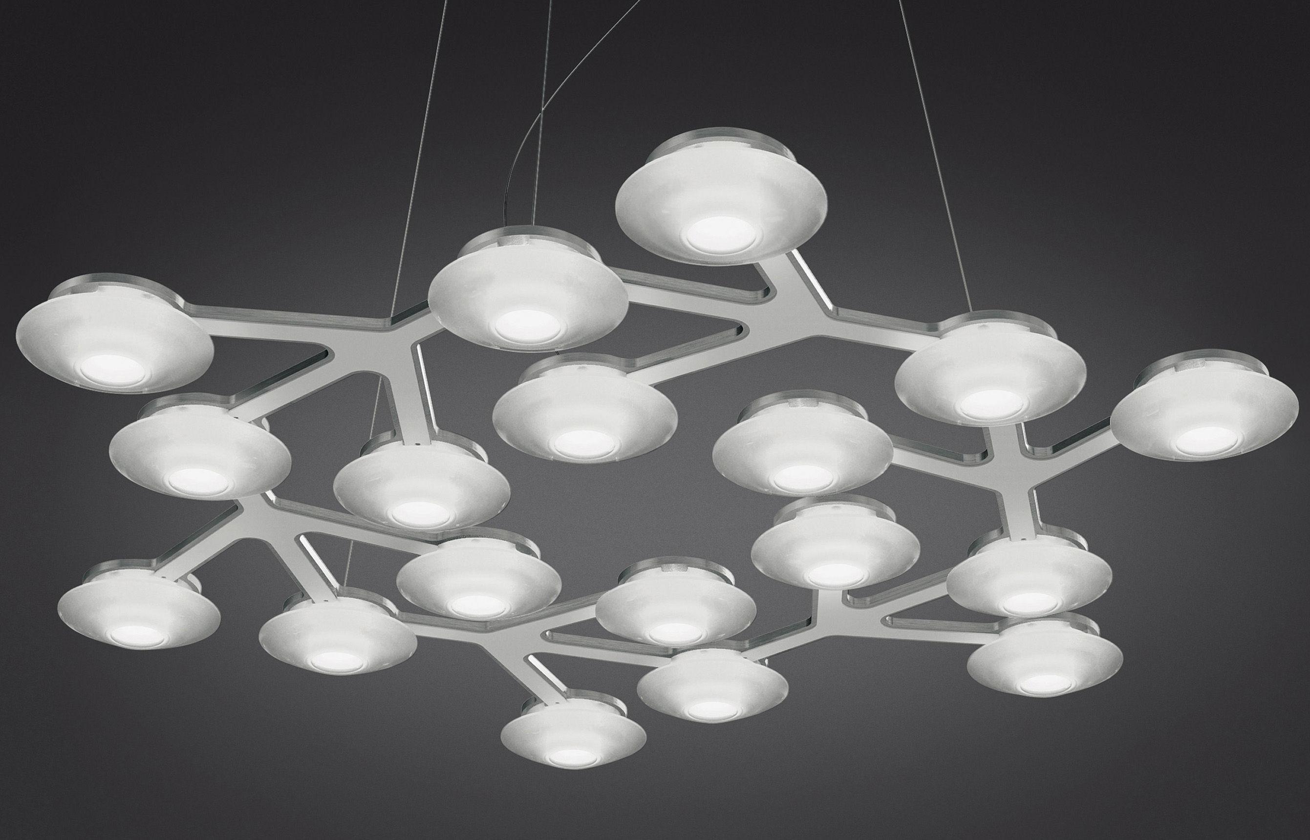 Leuchten - Pendelleuchten - LED NET Pendelleuchte rund - Ø 65 cm - Artemide - Weiß - bemaltes Aluminium, Methacrylate