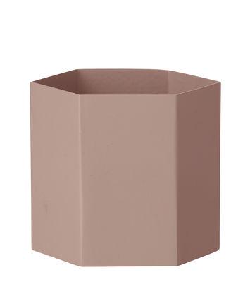 Pot de fleurs Hexagon Large / Ø 13.5 cm x H 12 cm - Ferm Living rose en métal