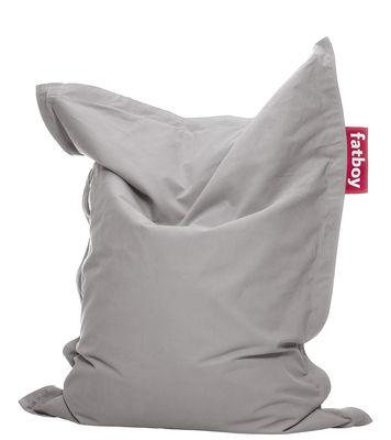 Pouf Junior Stonewashed / Pour enfant - Fatboy Larg 100 x L 130 cm gris perle en tissu