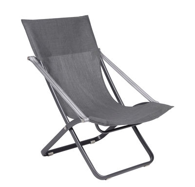 Outdoor - Sun Loungers & Hammocks - Viatti Reclining chair - / Foldable & adjustable by Vlaemynck - Charcoal grey / Titanium - Batyline® fabric, Lacquered aluminium