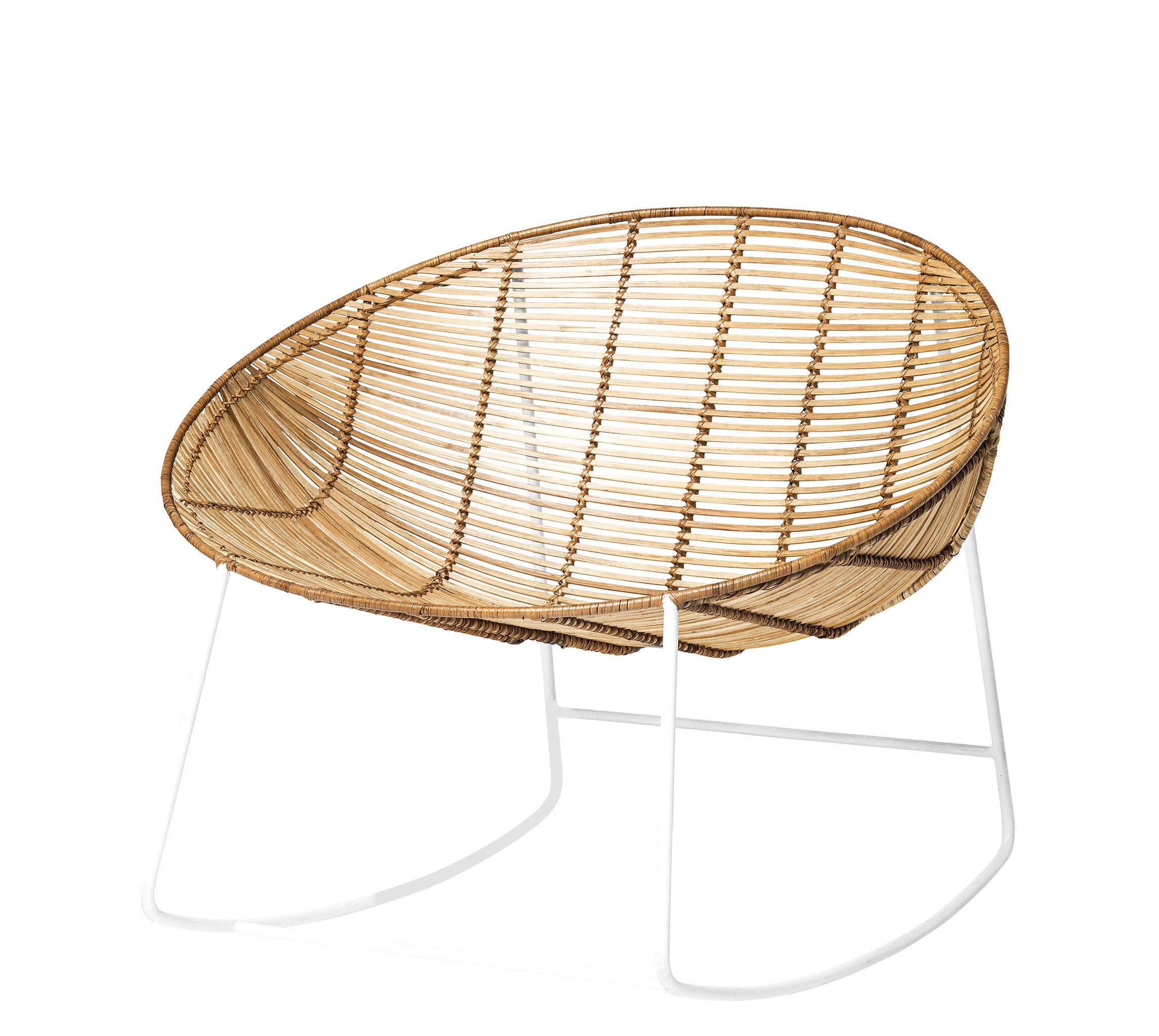 Mobilier - Fauteuils - Rocking chair Orinoco / Rotin & métal - Bloomingville - Naturel / Blanc - Métal laqué, Rotin