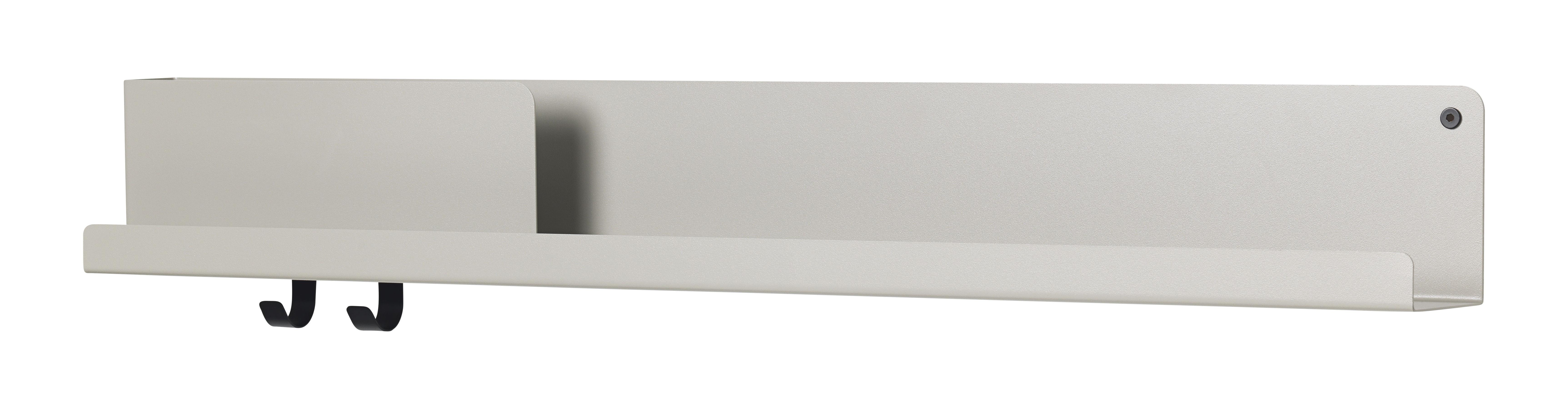 Arredamento - Scaffali e librerie - Mensola Folded Large / L 95 cm - Metallo - 2 ganci + scomparto - Muuto - Grigio - Acciaio laccato