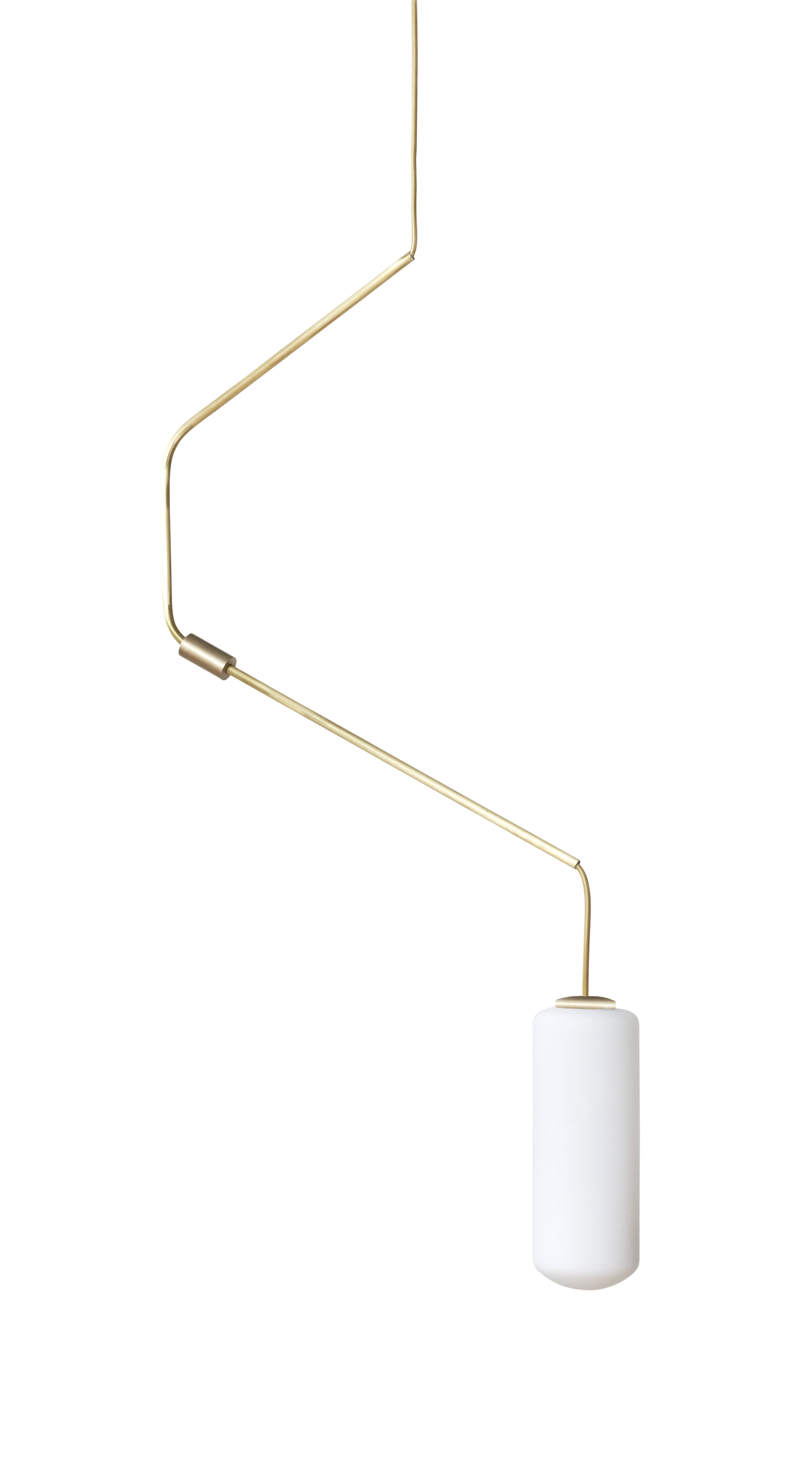 Illuminazione - Lampadari - Sospensione Ventus n°1 - H 87 cm - / Vetro & ottone di Frama  - n° 1 / Ottone - Ottone, Vetro opalino