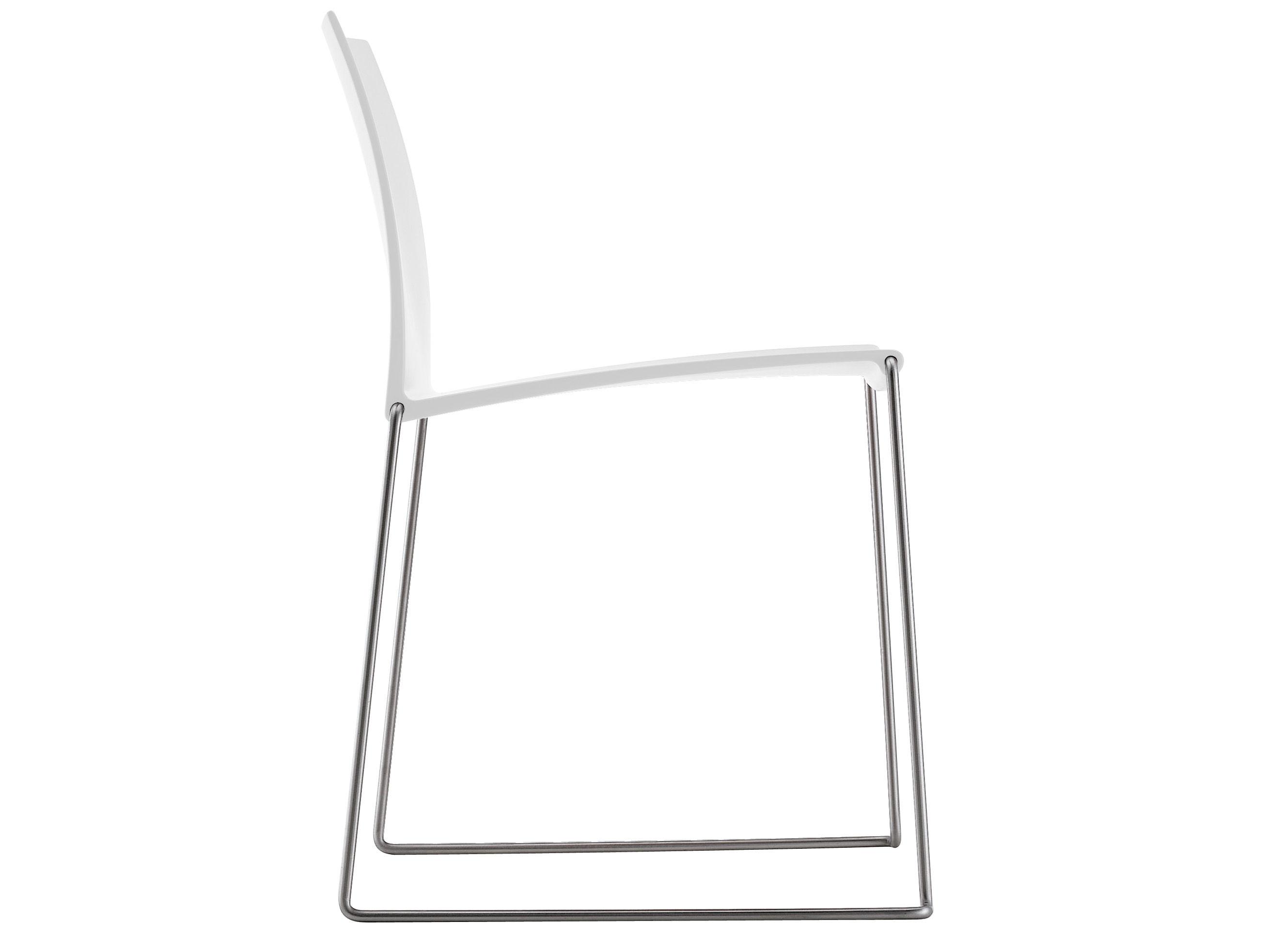 Möbel - Stühle  - M1 Stapelbarer Stuhl - MDF Italia - Weiß - Gestell aus Edelstahl - Plastikmaterial, rostfreier Stahl