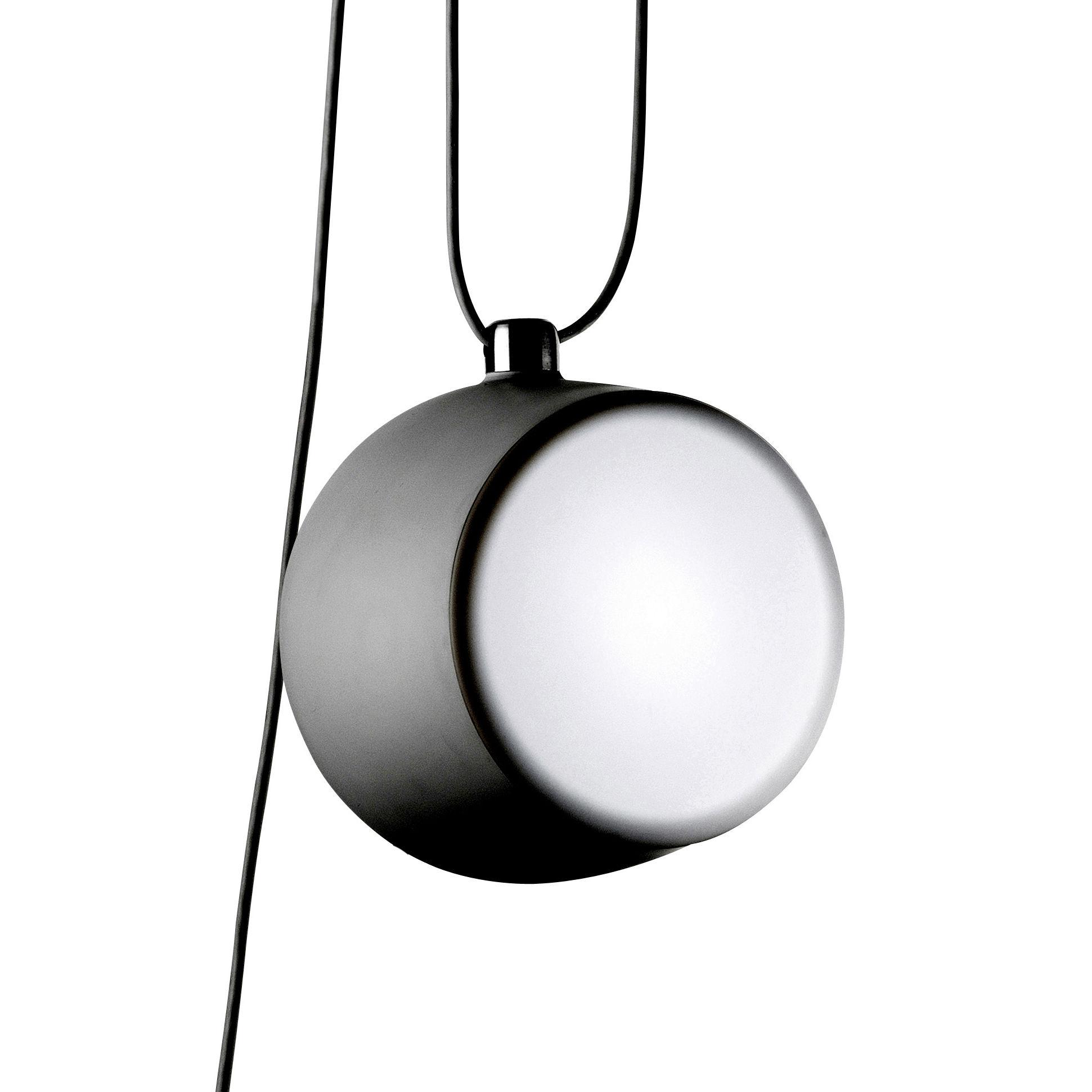 Luminaire - Suspensions - Suspension AIM LED /  Ø 24 cm - Flos - Suspension noire - Aluminium peint, Polycarbonate
