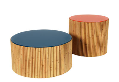 Table basse Riviera Duo / Set de 2 - Ø 60 & Ø 45 cm - Maison Sarah Lavoine bleu/rouge en bois