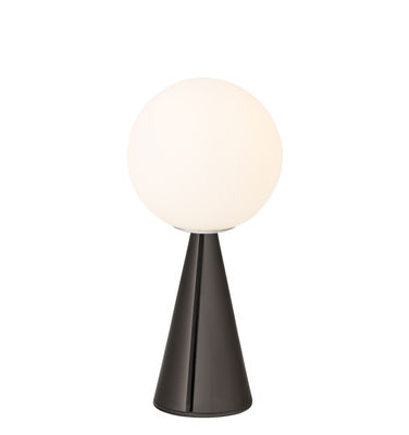 Lighting - Table Lamps - Bilia Mini Table lamp - / By Gio Ponti (1932) by Fontana Arte - Chromed black - Metal, Satin blown glass