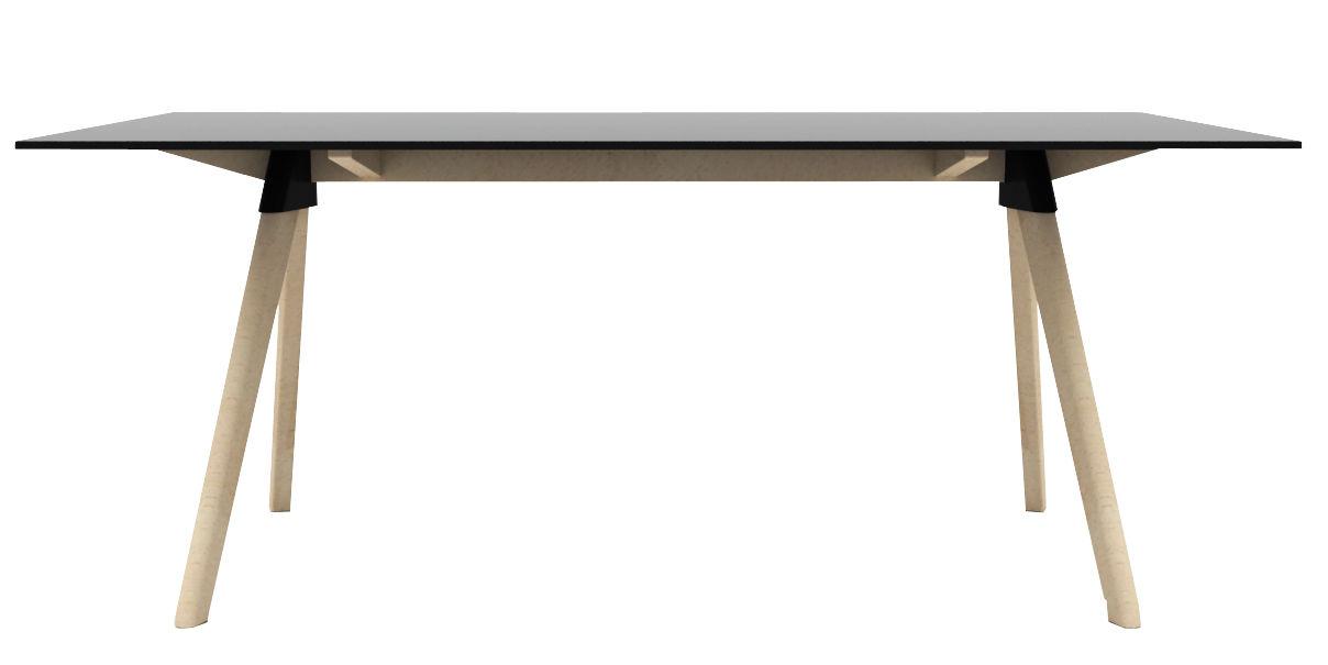 Mobilier - Tables - Table rectangulaire Butch - The Wild Bunch / 180 x 90 cm - Magis - Noir / Pieds bois naturel - Hêtre massif, HPL, Polypropylène
