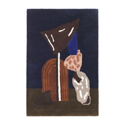 Déco - Tapis - Tapis Bevy Tufted / Décoration murale - 70 x 110 cm - Edition limitée - Ferm Living - Bevy / Bleu foncé - Coton, Laine de Nouvelle-Zélande
