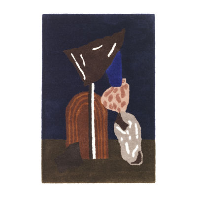 Tapis Bevy Tufted / Décoration murale - 70 x 110 cm - Edition limitée - Ferm Living bleu en tissu