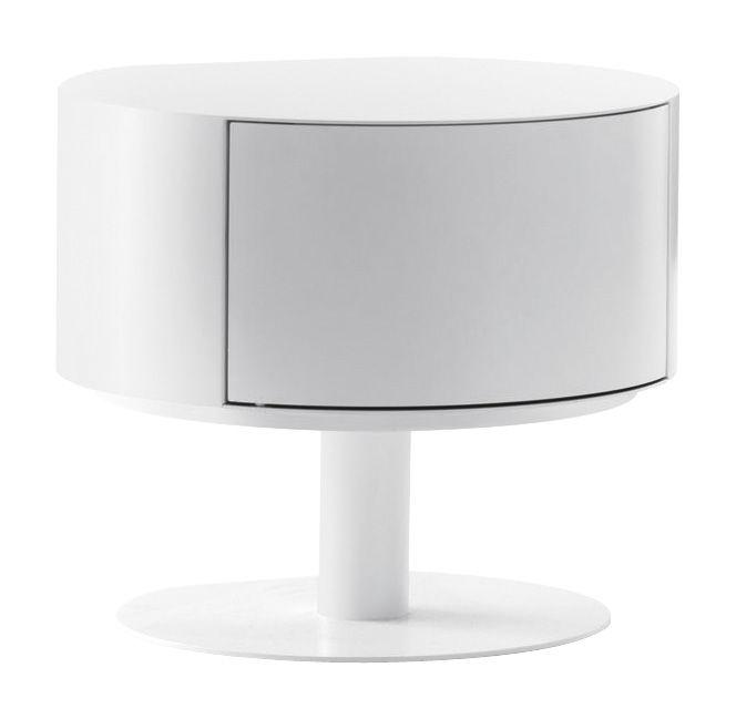 Arredamento - Tavolini  - Tavolino Bon-Bon - mobiletto di Opinion Ciatti - Bianco / Apertura destra - Acciaio laccato