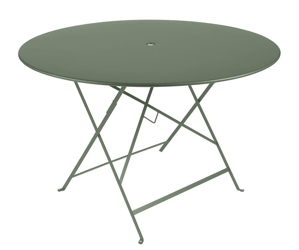 Outdoor - Tavoli  - Tavolo pieghevole Bistro / Ø 117 cm - Foro ombrellone - Fermob - Cactus - Acciaio verniciato