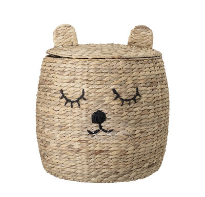Decoration - Children's Home Accessories - Ourson Basket - / with lid - Water hyacinth by Bloomingville - Natural fibre - Water hyacinth