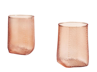 Decoration - Candles & Candle Holders - Tela Candle holder - / Set of 2 - Glass by Hay - Nude pink - Moulded glass