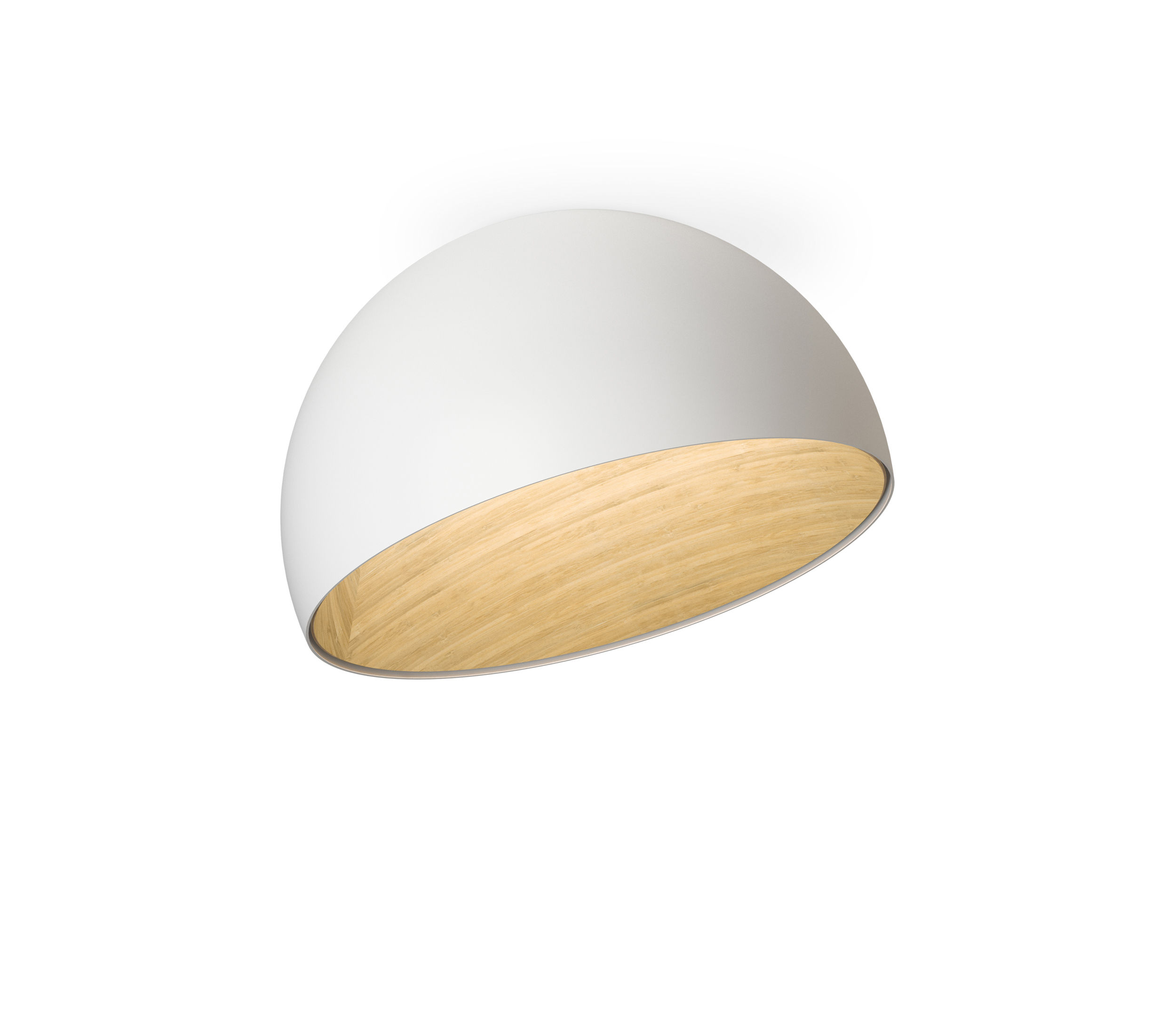 Lighting - Ceiling Lights - Duo LED Ceiling light - / Inclined - Ø 35 cm by Vibia - Inclined / White & wood - Lacquered aluminium, Oak