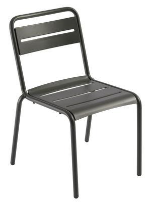 Mobilier - Chaises, fauteuils de salle à manger - Chaise empilable Star / Métal - Emu - Fer Ancien mat - Acier verni, Tôle galvanisée