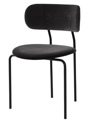 Chaise rembourrée Coco / Velours - Gubi noir en tissu