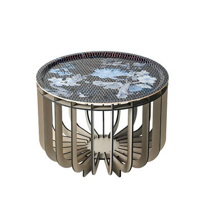 Möbel - Couchtische - Medusa Medium Couchtisch / Ø 46 x H 33 cm - Abnehmbares Tablett - Ibride - Fuß grau / Vibration Saphir - HPL-Laminat