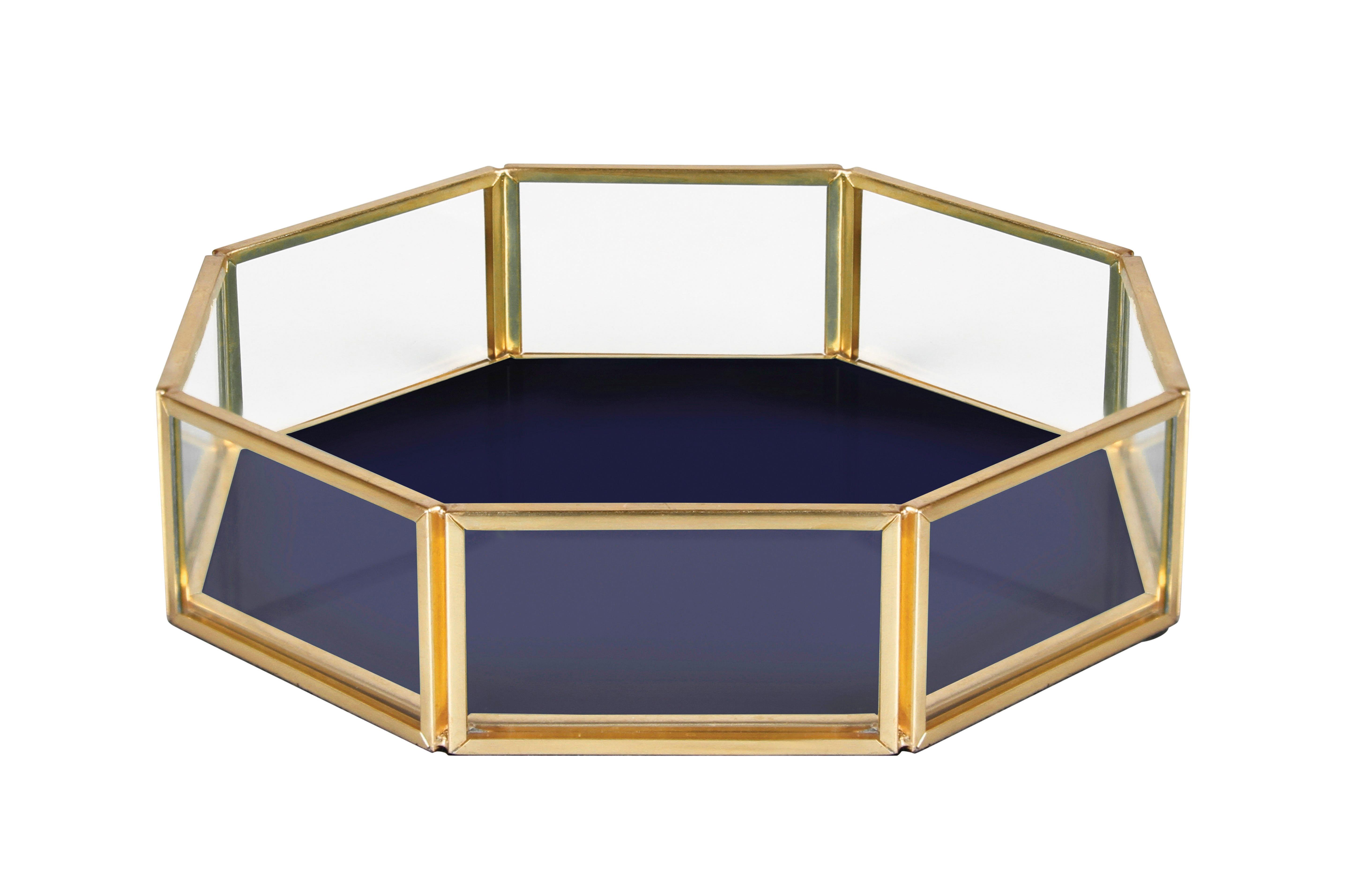 Déco - Boîtes déco - Coupelle / 16 x 16 cm - Verre & métal - & klevering - Octogone / Bleu marine - Métal finition laiton, Verre
