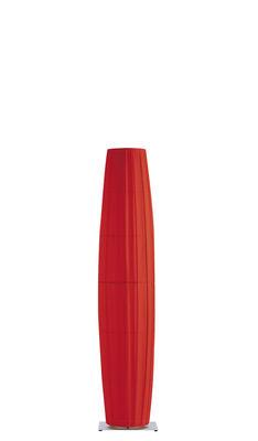 Lighting - Floor lamps - Colonne Floor lamp - H 190 cm by Dix Heures Dix - Red - Brushed stainless steel base - Brushed steel, Polyester fabric