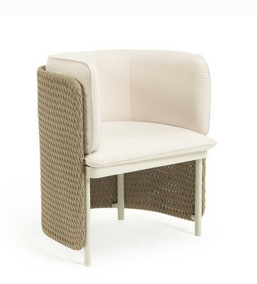 Möbel - Stühle  - Esedra Gepolsterter Sessel / Geflochtene Kunstfaser - Ethimo - Stoff weiß / Natur - Geflochtene Kunstfaser, lackiertes Aluminium, Polyacryl-Gewebe, Schaumstoff
