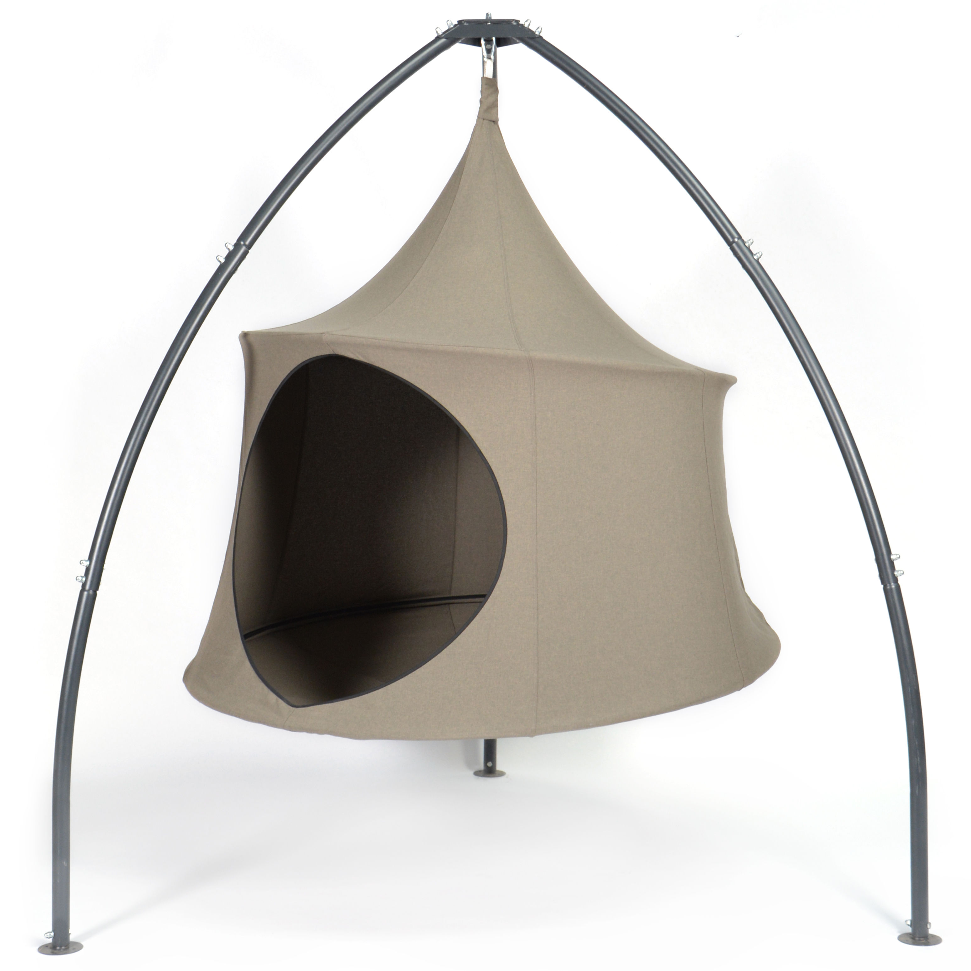 Outdoor - Sun Loungers & Hammocks - Domo Hanging armchair - / Tent - Ø 180 cm - 2 people by Cacoon - Earth -  Toile Olefin