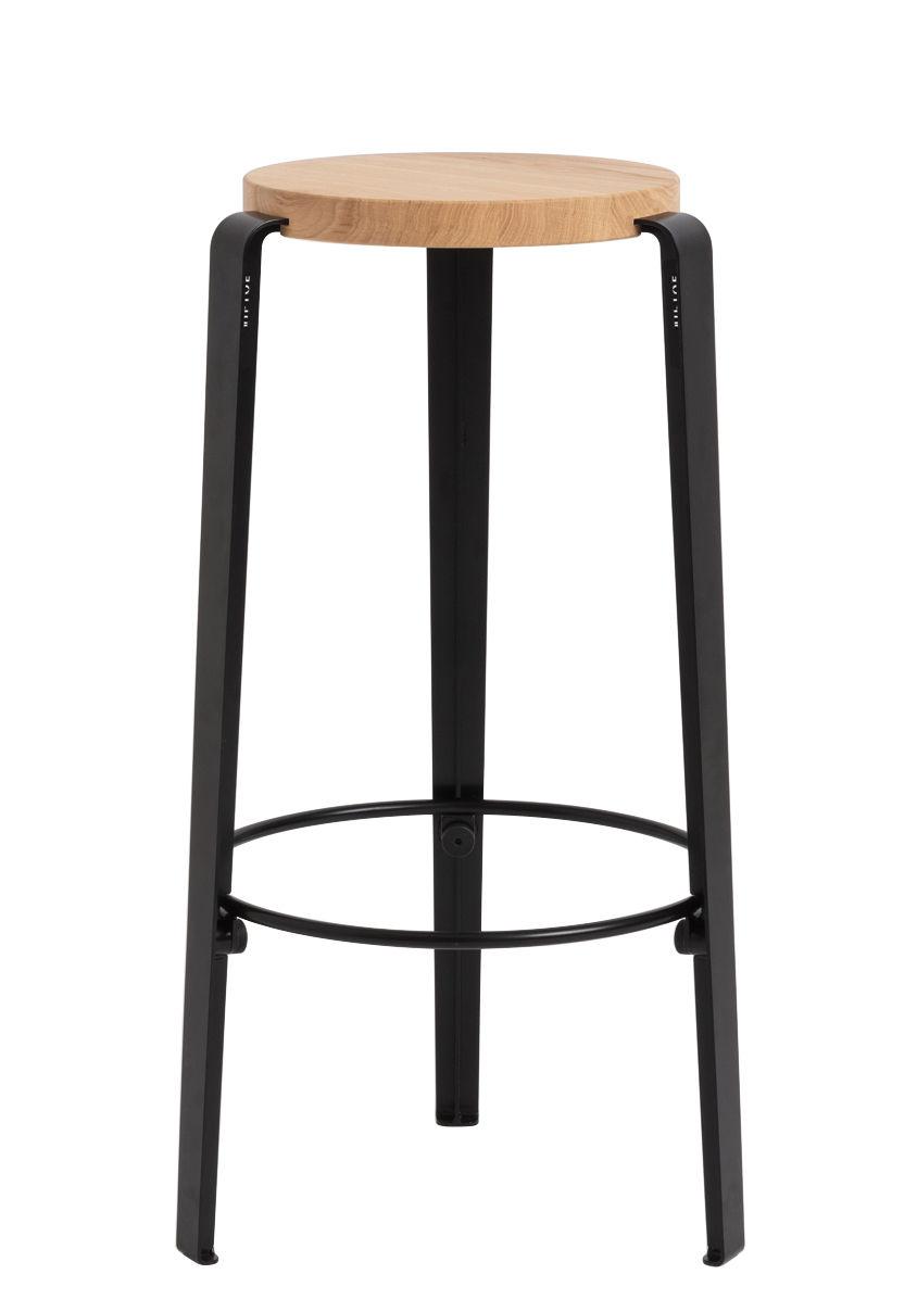 Furniture - Bar Stools - Big Lou High stool - / H 76 cm - Steel & oak by TipToe - Graphite black - Powder coated steel, Solid oak