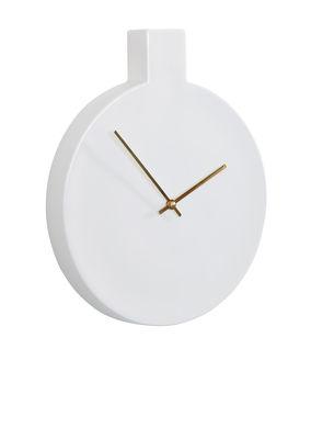 Horloge murale Label / L 24 x H 29,5 cm - Thelermont Hupton blanc,doré en céramique