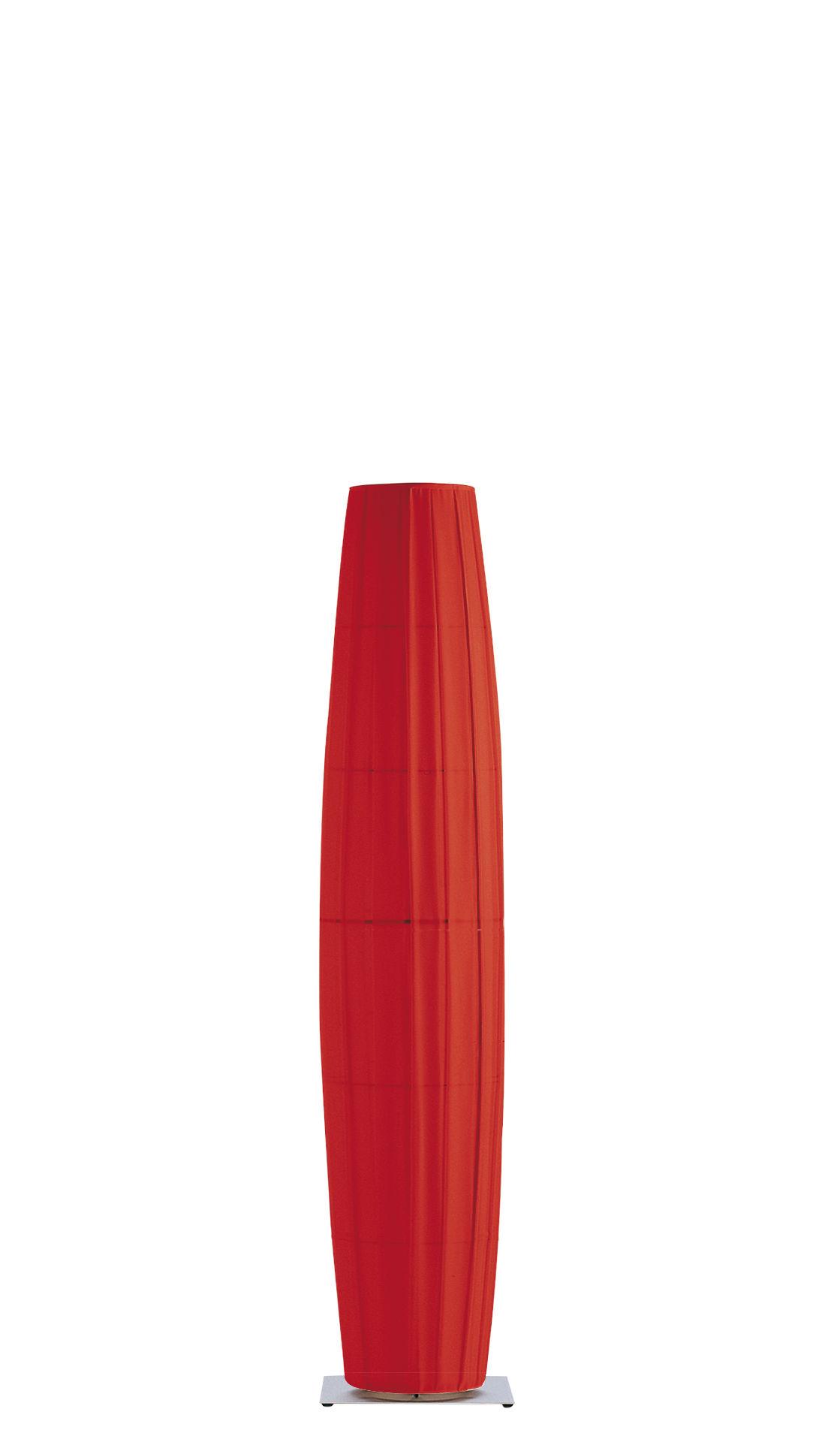 Illuminazione - Lampade da terra - Lampada a stelo Colonne - H 190 cm di Dix Heures Dix - Rosso - Base in acciaio inox spazzolato - Acciaio satinato, Tessuto poliestere