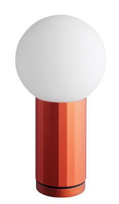 Lampe de table Turn on LED / H 19,5 cm - wrong.london orange en métal