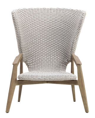 Möbel - Lounge Sessel - Knit Lounge Sessel / Hohe Rückenlehne - Synthetikfaden - Ethimo - Beige / Teakholz abgebeizt - Eingelegtes Teakholz, Synthetisches Seil