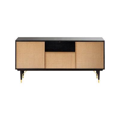 Meuble TV / L 160 x H 80 cm - Fibre naturelle & laque - RED Edition noir en fibre végétale/bois