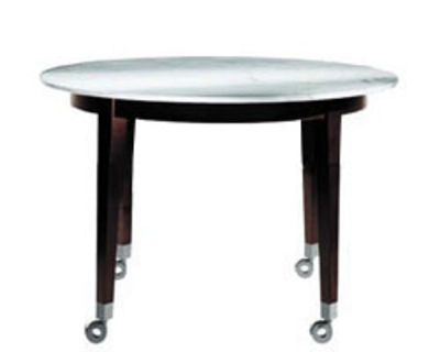 Furniture - Exceptional furniture - Neoz Round table - Ø 129 cm by Driade - Ebony/ marble - Mahogany, Marble