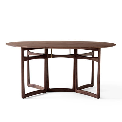 Furniture - Dining Tables - Drop Leaf HM6 (1956) Oval table - / Folding - 163 x 142 cm by &tradition - Walnut - Brass, Solid walnut