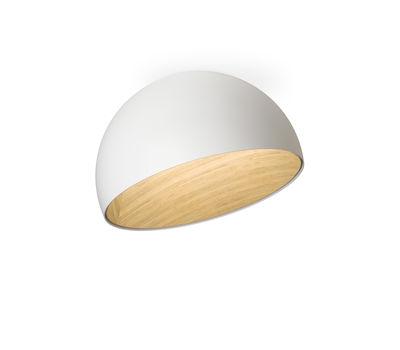 Luminaire - Plafonniers - Plafonnier Duo LED / Incliné - Ø 35 cm - Vibia - Incliné / Blanc & bois - Aluminium laqué, Chêne