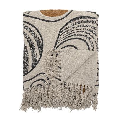 La boutique de Noël - Petits prix - Plaid / 160 x 130 cm - Coton recyclé - Bloomingville - Jaune, beige & noir - Coton recyclé