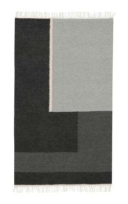 Decoration - Rugs - Kelim Section Rug - / Small - 140 x 80 cm by Ferm Living - Small - Black & White - Cotton, Wool