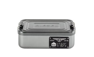 Cucina - Lattine, Pentole e Vasi - Scatola Bento Small - / Metallo - L 17 x H 5 cm di Diesel living with Seletti - Small / Cromato - Metallo cromato