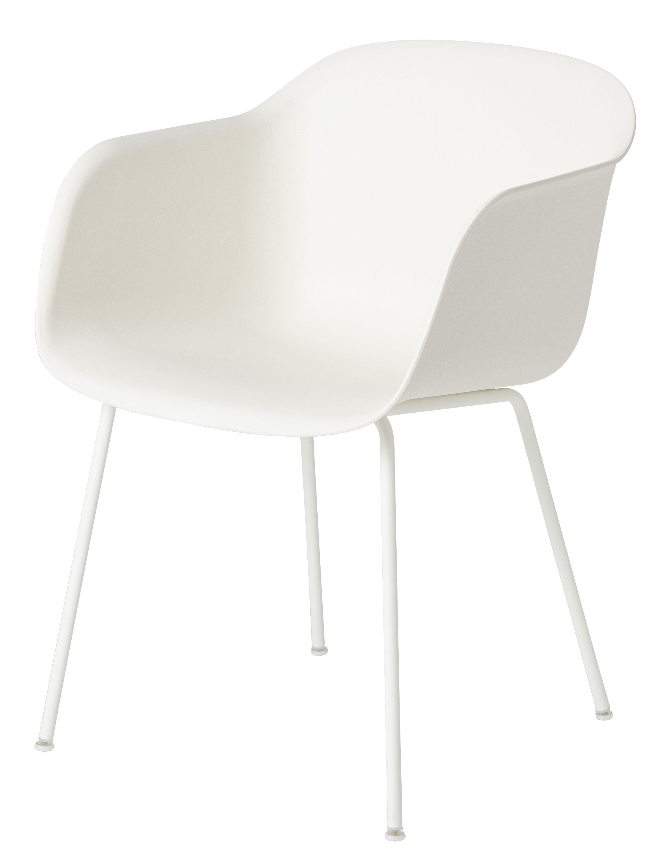 Möbel - Stühle  - Fiber Sessel / mit 4 Stuhlbeinen - Muuto - Sitzschale weiß / Stuhlbeine weiß - bemalter Stahl, Recyceltes Verbundmaterial
