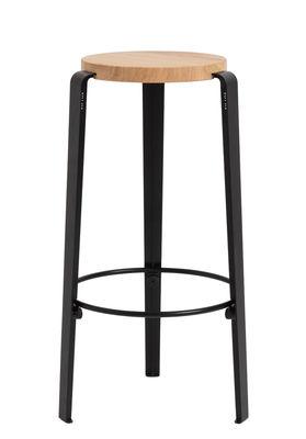 Arredamento - Sgabelli da bar  - Sgabello alto Big Lou - / H 76 cm - Acciaio & rovere di TipToe - Nero grafite - Acciaio termolaccato, Rovere massello