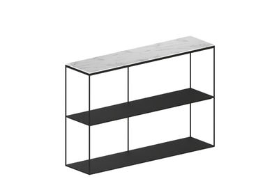 Furniture - Bookcases & Bookshelves - Slim Marbre Shelf - / L 124 x H 83 cm by Zeus - Copper black / White marble - Carrare marble, Epoxy painted steel