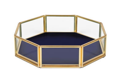 Decoration - Decorative Boxes - Small dish - / 16 x 16 cm - Glass & metal by & klevering - Octagon / Navy blue - Brass finish metal, Glass